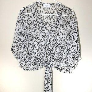 Adrienne Snow Leopard Cropped Tie-Front Blouse
